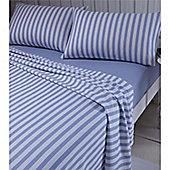 Catherine Lansfield Brushed Blue Stripe Sheet Set - Double