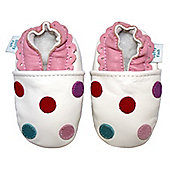 Dotty Fish Soft Leather Baby Shoe - White Multicoloured Spotty - White
