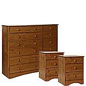 Scandinavian Pine Bedside - Bedside + 6+6 Drawer Wide Chest Package