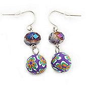 Purple Crystal Fimo Drop Earrings In Silver Metal - 4cm Length