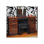 Welcome Furniture Mayfair Kneehole Dressing Table - Light Oak - Black - Ebony