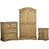 Corona Trio Set (2 Door Wardrobe Chest and Bedside) Distressed Waxed Pine