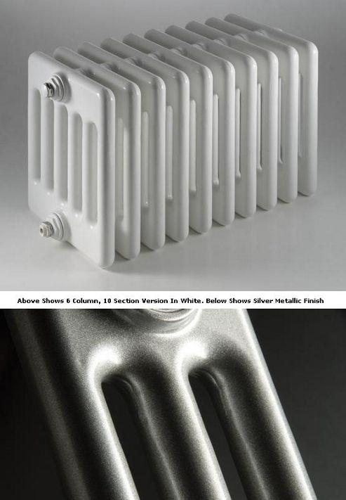 DQ Heating Peta 4 Column Designer Radiator - 292mm High x 945mm Wide - 21 Sections - Silver Metallic