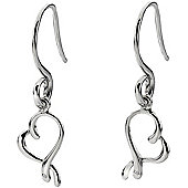 IT Diamonds Rhodium PARIS Diamond Open Heart Drop Earrings