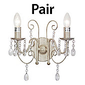 Pair of Lille Two Way Wall Light Fittings in Distressed White