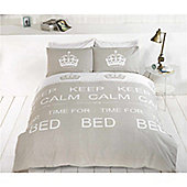 Rapport Keep Calm Single Quilt Set Taupe