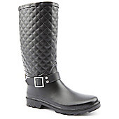 Brantano Ladies New Quilted Buckle Black Wellington Boots