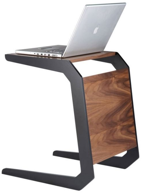 Alphason Walnut Laptop Table With Black Legs