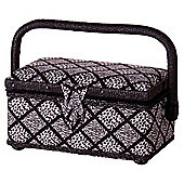 Korbond Sewing Box, Black & White Diamond