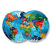Alphabet Jigsaws Handcrafted Traditional Wooden Puzzle: Map of the World