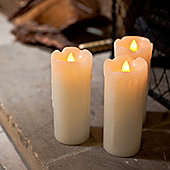 Set of 3 Skinny Battery LED Dripping Wax Candles
