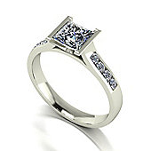18ct White Gold 5.5mm Square Brilliant Moissanite Solitaire and Moissanite Set Shoulders