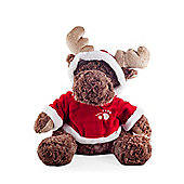 Plush Sitting Moose Soft Toy in Red & White Hooded Jumper