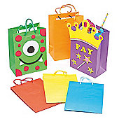 6 Assorted Colour Gift Bags to Decorate and Personalise Party Kid's Craft Activities (Pack of 6)