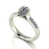 18ct White Gold 9x4.5 Marq Moissanite Solitaire and Moissanite Set Shoulders
