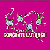 Holy Mackerel Greetings Card- Congratulations jumping for joy