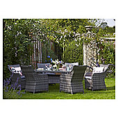 Lola Rattan Effect 7-piece Garden Dining Set, Grey