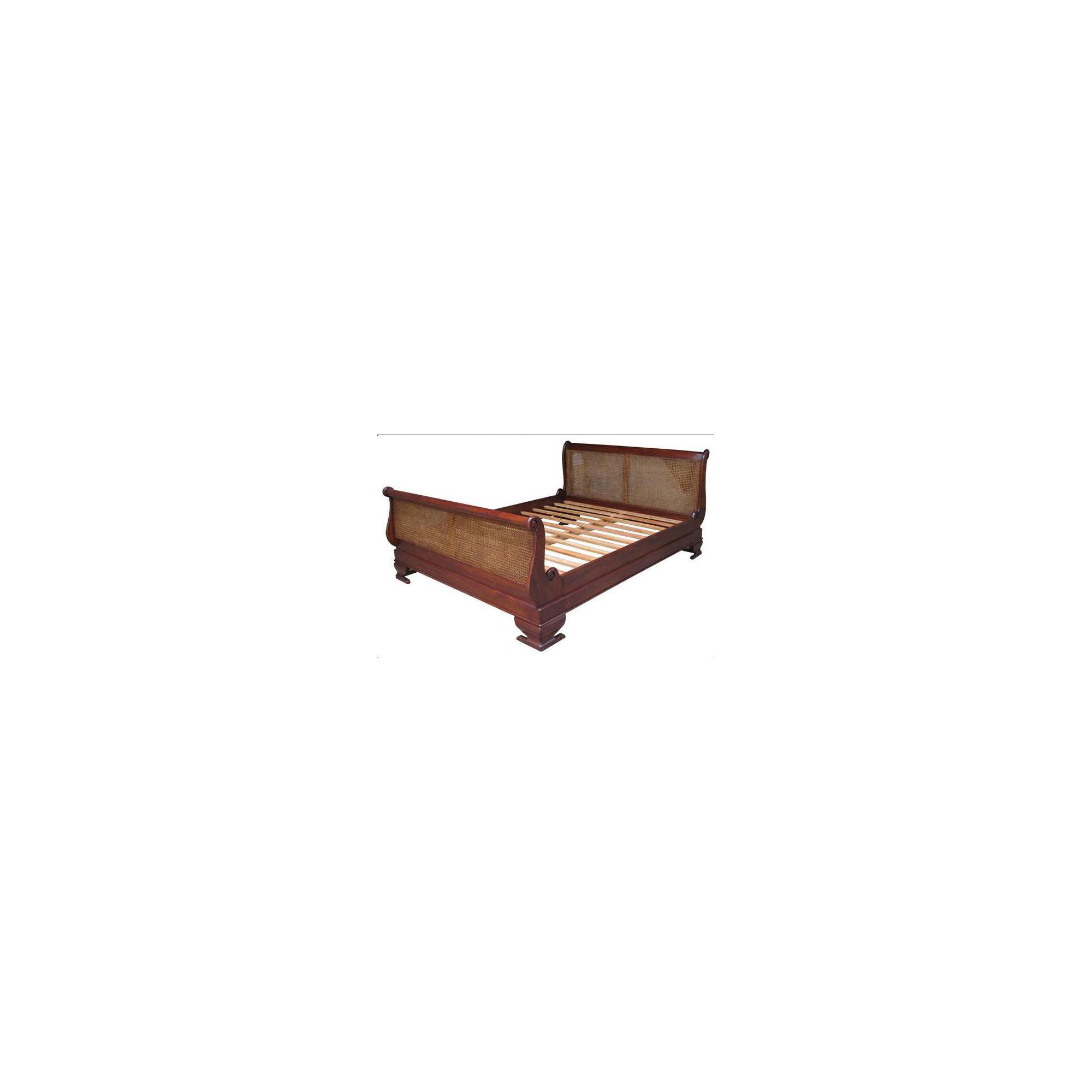 Lock stock and barrel Mahogany Rattan Sleigh Bed in Mahogany - Double - Antique White at Tesco Direct