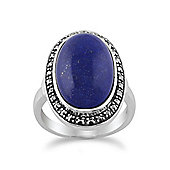 Gemondo Lapis Lazuli Sparkling Marcasite Ring in 925 Sterling Silver