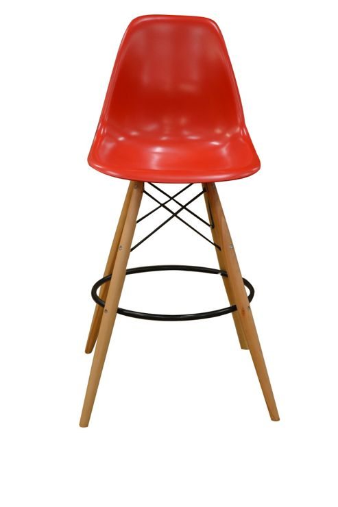 Charles Eames Style DSW Red Bar Stool