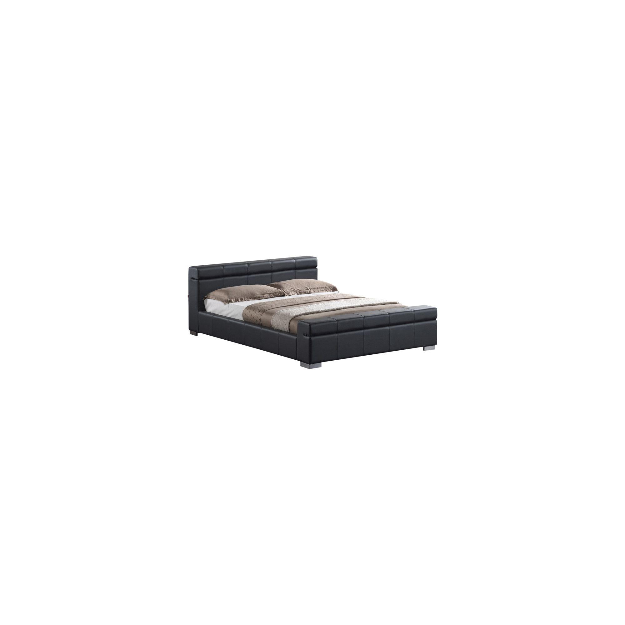 Altruna Durham Faux Leather Bed Frame - Double - Black at Tesco Direct