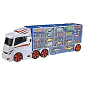 Fuel Line Car Transporter Carry Case With 14 Diecasts