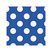 Blue Polka Dot Beverage Napkins - 2ply Paper