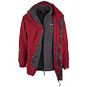 Glacier Mens 3 In 1 Hooded Waterproof Breathable Rain Jacket Coat - Red