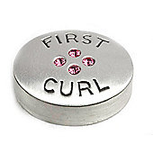 First Curl Keepsake Pewter Pot - Pink