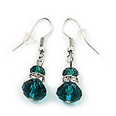Small Emerald Green Glass Bead Drop Earrings In Silver Plating - 3.5cm Length