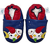 Dotty Fish Soft Leather Baby Shoe - Navy Multicoloured Fish - Navy