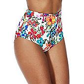 South Beach Floral Print High Waisted Bikini Briefs - Multi