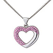 Sterling Silver Pink Crystal Set Heart Shaped Pendant with Chain