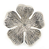 Large Ethnic Textured 'Flower' Ring In Burn Silver Metal - 40mm Diameter - Adjustable - Size 7/8
