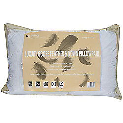 KLiving Pair of Goose Feather Pillows White