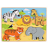 Bigjigs Toys BJ327 Chunky Lift Out Safari Puzzle