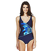 Zoggs Swimshapes Jungle Print Panel Swimsuit - Navy