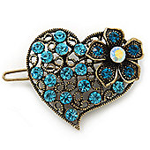 Vintage Inspired Azure Blue and AB Crystal 'Heart' Hair Slide In Antique Gold Metal - 35mm Across