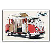 VW Camper Gloss Black Framed Bulli Poster