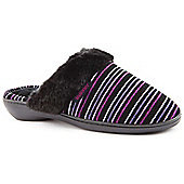 Totes Ladies Stripe Pillowstep Multicoloured Mule Slippers