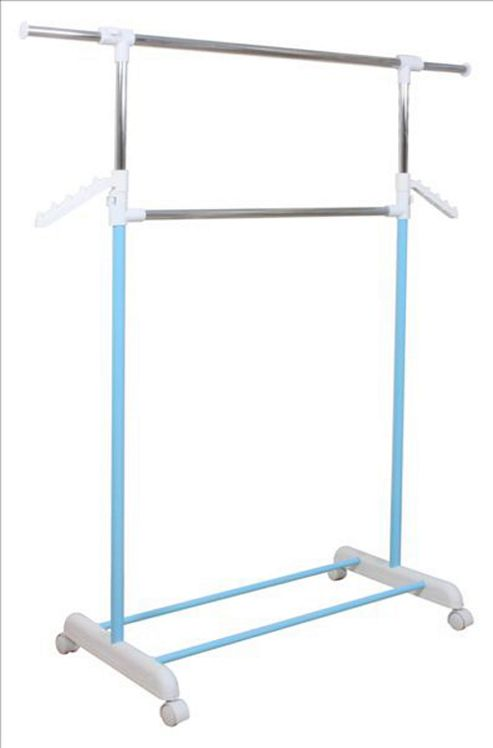 Germaine - Extending Wardrobe / Clothes Storage Rail - Silver / Blue