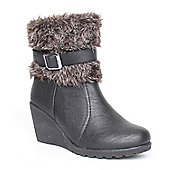 Emilio Luca X Red Fur Hug 3 Black Ladies Fur Topped Wedge Boot