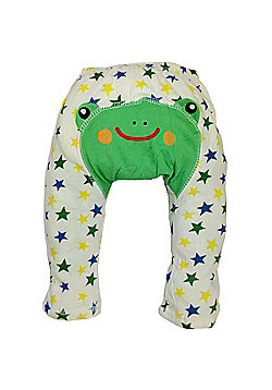 Dotty Fish Cotton Baby Summer Leggings - Cream and Blue Starry Frog - Cream