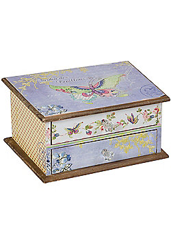 Butterfly - 2 Drawer Jewellery / Storage Chest - Blue / Multicoloured