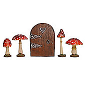 Fairy Garden Starter Kit Set Of Four Mushrooms & Fairy Door