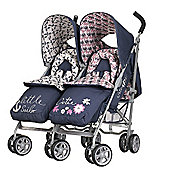 Obaby Leto Twin Stroller with Footmuffs - Little Cutie & Little Sailor