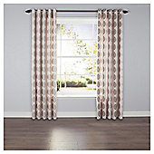 Leaf Print Lined Eyelet Curtains - Natural