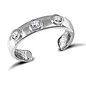 Jewelco London 9ct Solid white gold flat Toe Ring set with 3 CZ stones