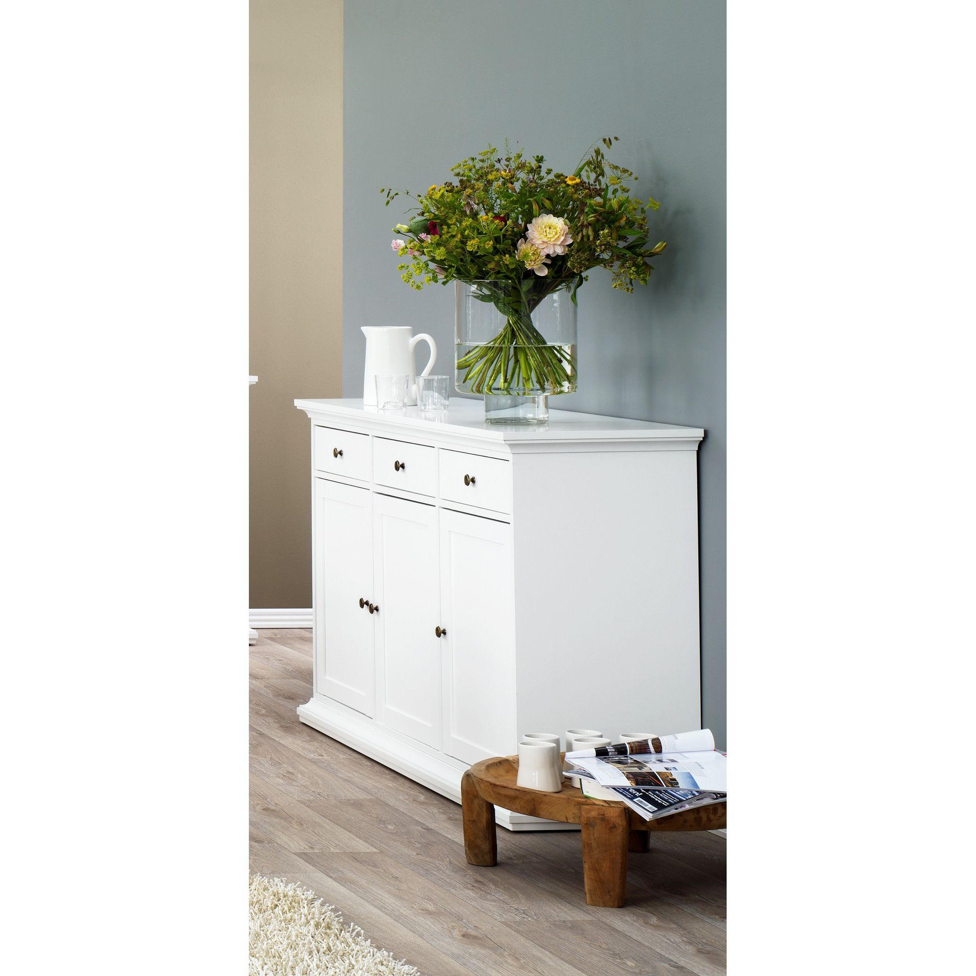 Tvilum Paris Sideboard with Three Doors and Three Drawers in White at Tesco Direct