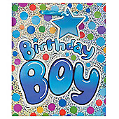 Blue Birthday Boy Holo bag - med